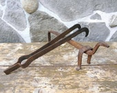 FIREPLACE TOOL SET Antique 18th Century Wrought Iron Fireplace or Wood Stove Tools hand forged blacksmith hearth Fireplace Ornament zografa