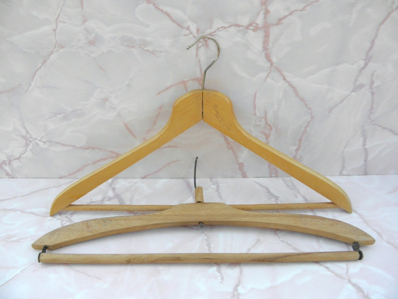 2 Vintage Wooden Hangers Clothes Hangers Antique Shabby Chic Rustic Decor Old Soviet Simple Wood Coat Hangers 2 Pcs Hangers Zografa