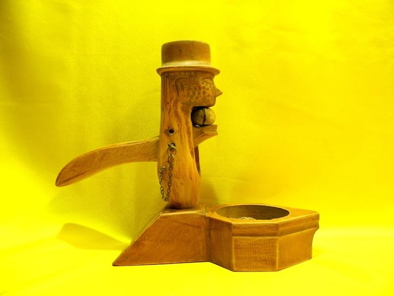 Vintage WOODEN NUTCRACKER and BOWL Wooden Head Skull Nut Cracker  Handmade Nutcracker  Wooden Handle Farm Kitchen Decor Gift idea zografa