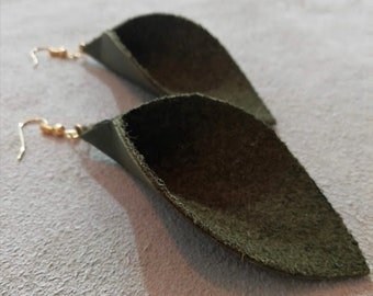 Recycled Army Green Leather Drop Earrings / Made in UK / Upcycled Earrings / Birthday Gift / Mothers Day Gift / Christmas Present