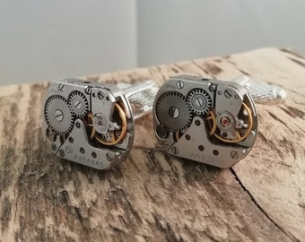 Rectangular Timepiece Cufflinks / Handmade in UK / Wedding Gift / Mens 11th Anniversary Gift / Steampunk Cufflinks / Unique Gift / Fathers