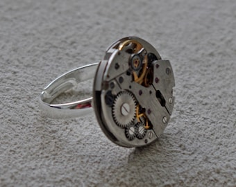Adjustable Ring / Timepiece Mechanism Ring / Vintage watch Movement / Hand Crafted in UK / Gifts for Men and Women / Steampunk Style Ring