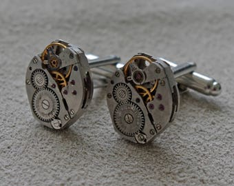 Unique Timepiece Cuff Links / Handmade in UK / Vintage Watch Movements / Men's 11th Anniversary Gift / Graduation Gift / Unique Cufflinks