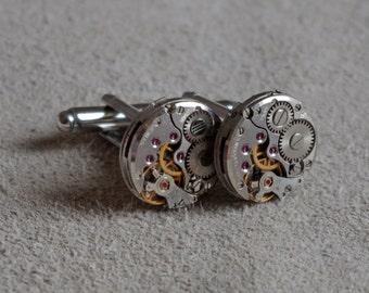 Steampunk Cufflinks / Vintage Watch Mechanisms / Unique / Handmade in Bristol / Graduation Gift / Fathers Day Gift / Wedding Day Present