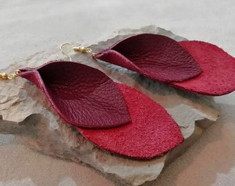 Recycled Burgundy Leather Drop Earrings / Made in UK / Upcycled Earrings / Birthday Gift / Mothers Day Gift / Christmas Present