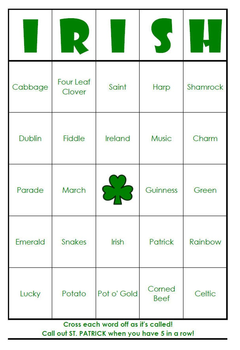 image about St Patrick's Day Bingo Printable named St. Patricks Working day Bingo Playing cards (electronic record) 40 Playing cards