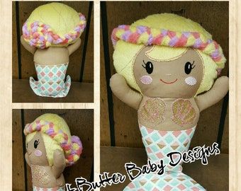CUSTOM Doll, Custom Mermaid Doll- Handmade Mermaid Doll, Rag Doll, Doll, Cloth Doll, Fabric Mermaid