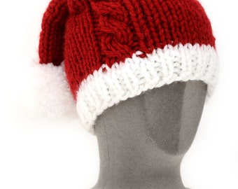 Thick yarned Double tailed, Two tailed, Vegan hat Santa cable, PomPoms, Penny santa hat, Penny christmas hat,  British Seller UK