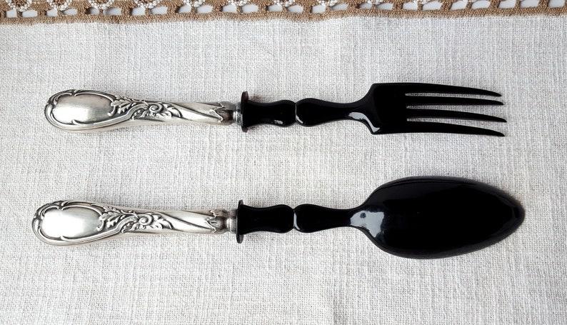 Silverplated Vintage Salad Servers German Vinatge Salad Cutlery Bakelite and Silverplated Spoon and Fork Art Deco Flatware Silverware