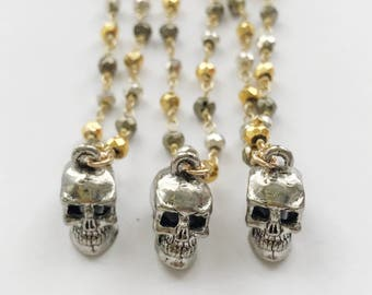 Silver Skull on Mixed Pyrite Chain