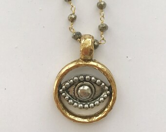 Evil Eye on Pyrite Chain