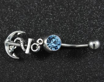 Blue Anchor Belly Ring - 316L Stainless Surgical Steel - Belly Button Dangle Body Jewelry - Navy Wife Gift - Piercing - Nautical - Summer
