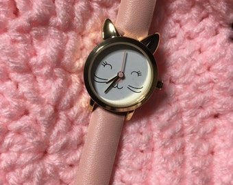 Wrist Watch - Kitty Cat - Children's - Leather Band - Kids