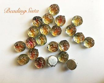Cabochon - Tequila Backlit - Baroque - 2-Hole -7mm