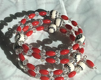 Baseball -Bamboo Red Coral - Memory Wire - Clear Crystal - Beaded Bracelet
