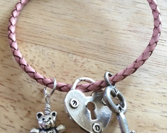 Braided Leather Pink Charm Bracelet