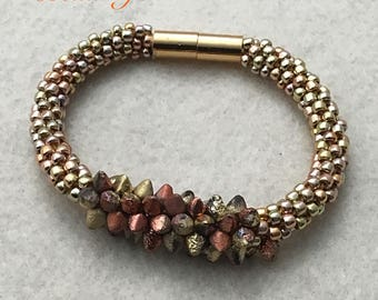 Kumihimo - Spiky Button and Seed Bead - Bracelet - 7 9/16 Inches Long
