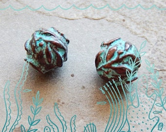 Leaf - Olive Green Patina - Verdigris -  Casting Ball Beads - 6mm