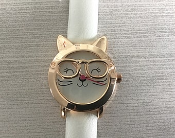 Wrist Watch - Cat - Eyeglasses - Children's - Leather Band - Kids