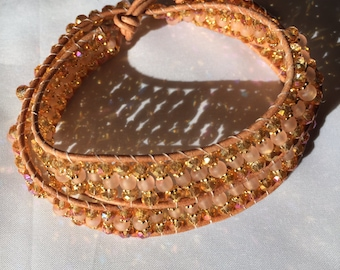 Tan Leather Chinese Crystal Wrap Bracelet