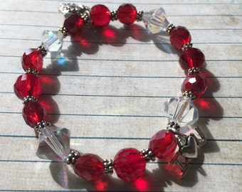 Red and Clear Crystal Bead Bracelet