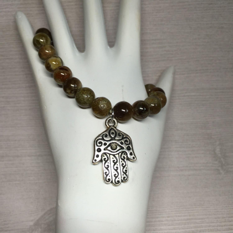 Hamsa Hand Bracelet, Garnet Gemstone Unisex, Protection