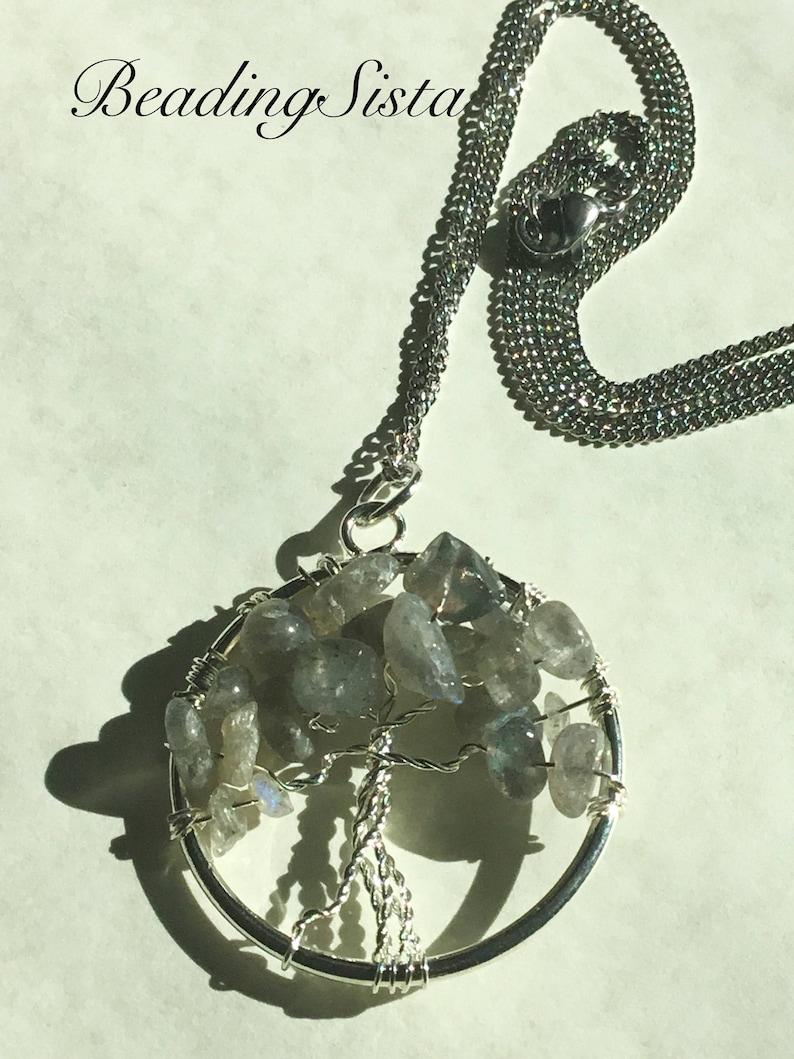 Tree of Life Silver Chain Silver Wrap Labradorite Stones
