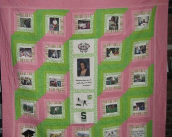Custom Photo Graduation Memory Quilt!  Personalized and Embroidery added! Free Shipping