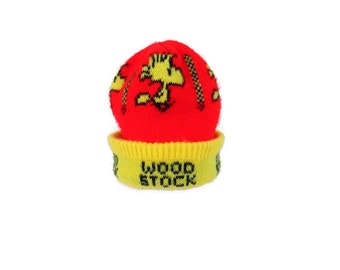 8337fbc5952d4 Vintage Woodstock Peanuts Beanie 1960 s Kid s Red and Yellow Acrylic Knit  Cap Retro Child s Size Woodstock the Bird Toboggan 60 s Winter Hat