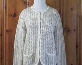 Vintage 90 39 s Cardigan Sweater Silver Ivory Cardigan Button Front Sweater 90 39 s Grunge Clothing 1990 39 s Sweater