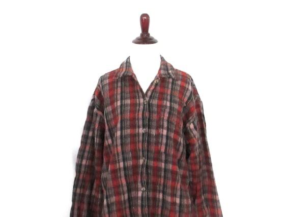 ' Fit floue à 1990 laine 90 à Blend chemise Vintage taille terre s chemise carreaux carreaux Blouse bouton Oversize Grunge Boyfriend ton avant moyenne fv6IbgyY7m