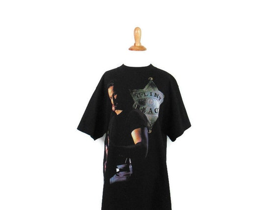 Country Music Singer Clint Black American Tour Graphic Tee Free Shipping to USA| Size Large |Vintage 1990s Single Stitch Black T-Shirt