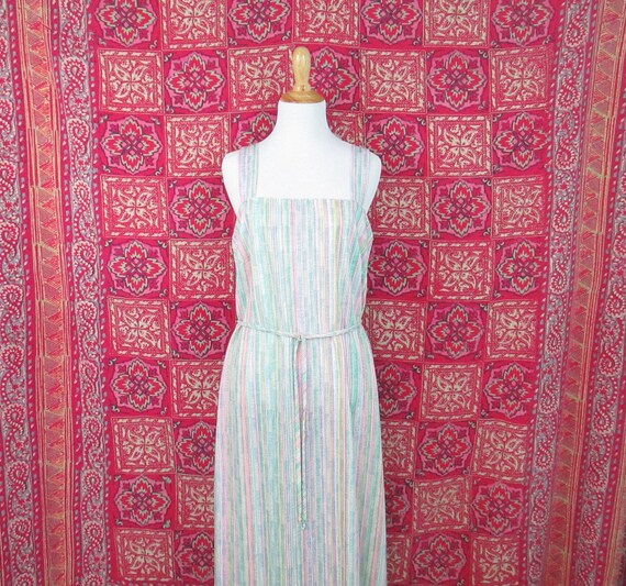 Vintage 1970's Colorful Striped Sundress Rainbow S