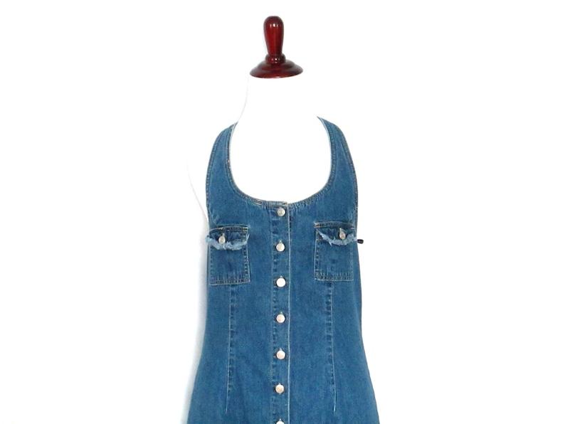 1a40588b4e1 90's Denim Halter Dress Button Front Jean Dress Frayed | Etsy