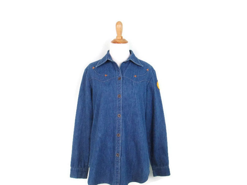 ef0bff4aede Vintage Women s Denim Western Shirt 1980 s Patched