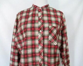 Flannel Shirt Vintage 70's Plaid Flannel Retro Shirt 1970's Glad Rags Blouse Soft Plaid Shirt Grunge Flannel