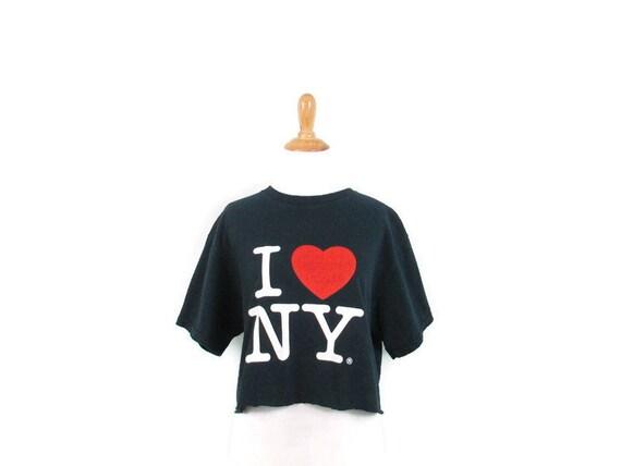 Vintage Cropped I Love NY Shirt 1990's Cutoff I He