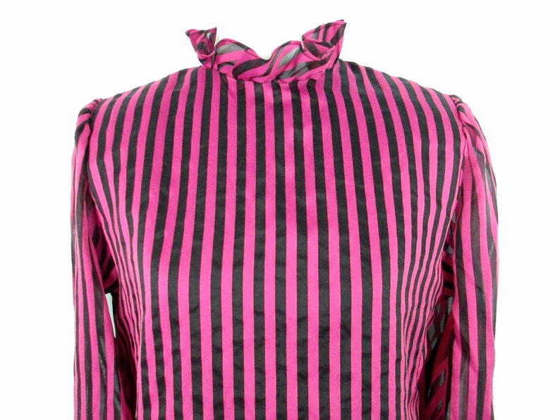 Vintage Pink and Black Striped Blouse 1980/'s Ruffled High Neck Sheer Sleeve Padded Shoulder Blouse 80/'s Retro Pinup Glam Goth Punk Shirt