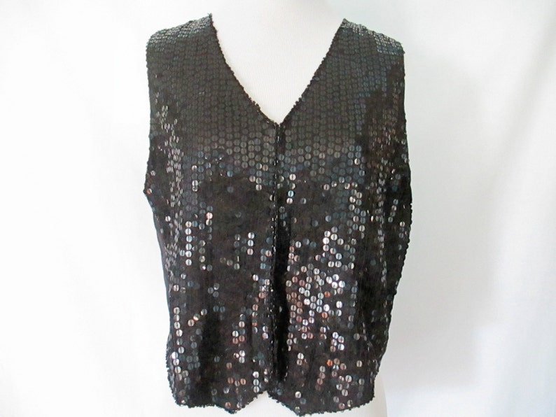 c9d3b458 Sequin Vest 90's Sequin Top Black Sequined Vest Silk Lined | Etsy