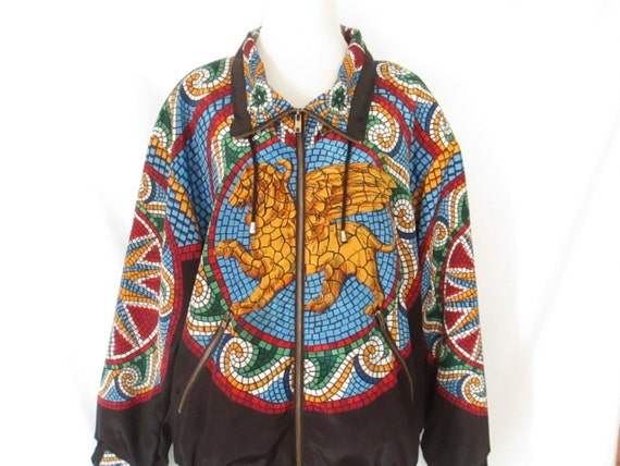 Vintage Mosaic Winged Lion Jacket Lion with Eagle Wings Jacket Stained Glass Mosaic Pattern Unique Funky Vintage Zippered Jacket YnliHg