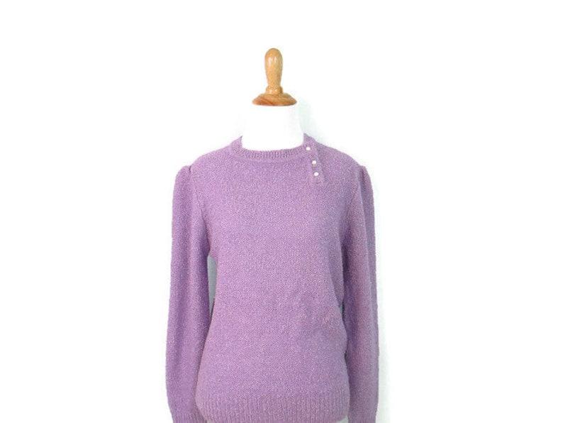 Paarse Trui.1980 S Pastel Paarse Trui Vintage Lilac Faux Parel Knop Etsy