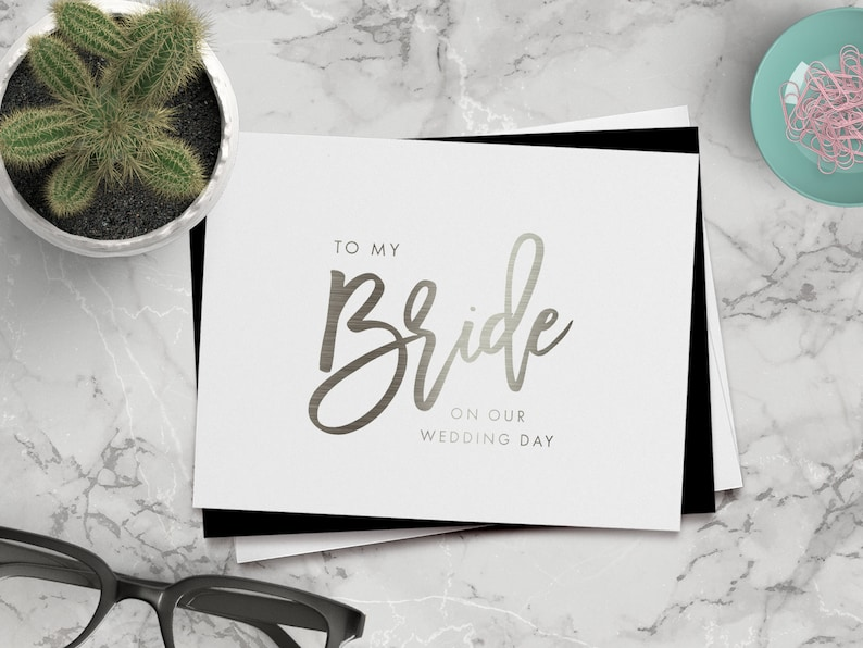 on-the-day wedding cards ZOE-BR foil bride card To my bride on our wedding day card