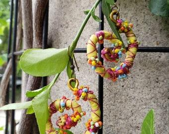 Swirl neon yellow earrings