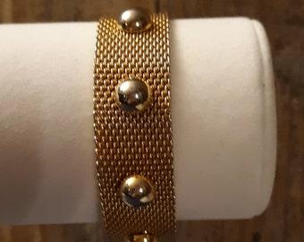 Vintage Mesh Bracelet Signed CATHE 1970's