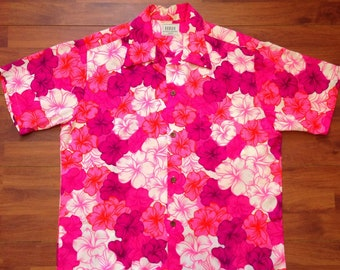 a15c0adb 70's His Royal Highness Pink Bark Cloth Hawaiian Shirt - Fits like a Large Hawaiian  shirt - Pink Flowers