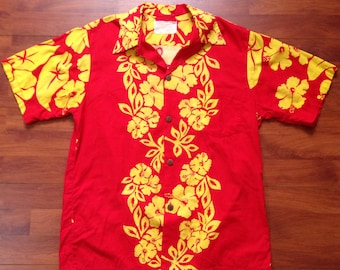 59c576ec 60's Red and Yellow Hawaiian Shirt - Fits Like S/M - Tropical Originals  Kauai