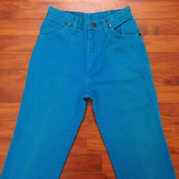 70's or 80's Wrangler Turquoise Blue Mom Jeans - F