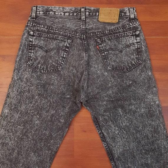 80's Black Acid Wash Levi's 501 Jeans - Fit Apprx