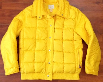 80's Yellow Roffe Down Ski Jacket - 'Blind Faith' - Made in USA - Size 10
