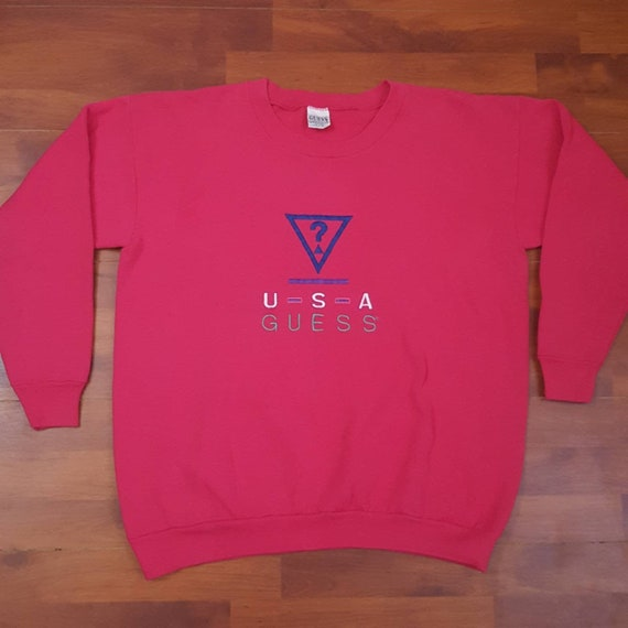 80's ? Rare Embroidered Pink Guess Sweatshirt - On